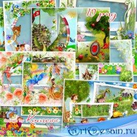 Детские Фоторамки в png с героями мультфильмов - В сказочной стране