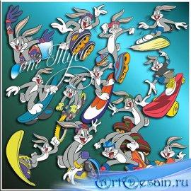 Заяц на скайборде - Детский клипарт