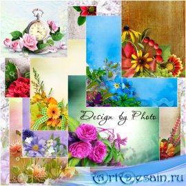 Цветочные растровые фоны для дизайна