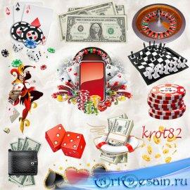Клипарт  PNG для фотошопа – Игральные карты, деньги, казино, игральные куби ...