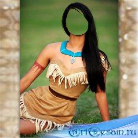 Женский фотошаблон - Покахонтас