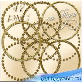 47 золотых круглых рамок-вырезов