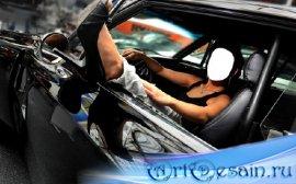 Женский шаблон - В черной машине