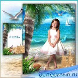 Рамка коллаж - Пальмы, море, пляж песчаный