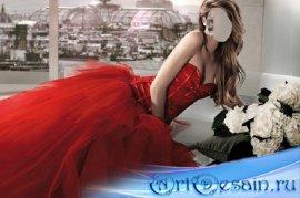 Шаблон женский - В красном королевском платье