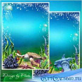 Рамка для фото с дельфинами - На дне морском
