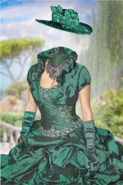 Женский шаблон для фотошопа – В зеленом бальном платье