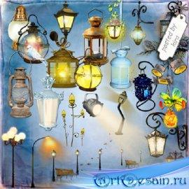 Клипарт - Фонари, фонарные столбы на прозрачном фоне