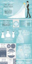 Нежная зимняя свадьба - векторный клипарт
