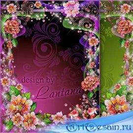 Рамка для фото - В дымке розовых нежных цветов
