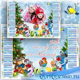 Детский календарь-рамка для фото на 2017 год - Любимые мультфильмы