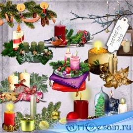 Клипарт - Новогодние и рождественские свечи