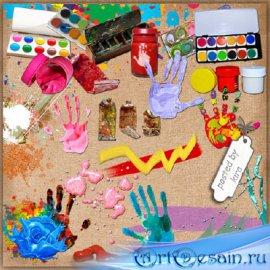 Клипарт художественный - Краски в тюбиках, баночках, мазки, брызги красок и ...