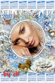 Зимний календарь на 2017 год с фоторамкой - Белые снежинки в воздухе летят