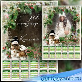 Зимний календарь на 2017 год с рамкой для фотошопа - Симпатичные снеговики