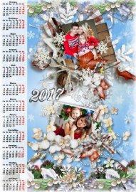 Новогодний календарь с рамками для фото - Чудесная красавица зима