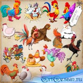 Клипарт - Забавные курочки, петушки и цыплятки