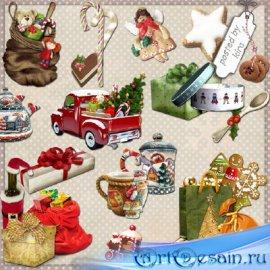Клипарт - Новогодние и рождественские подарки, сладости