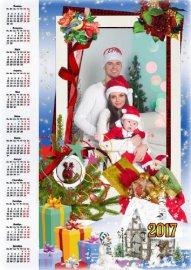 Праздничный календарь с рамкой для фото -  Новогодние чудеса