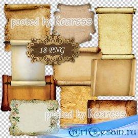 Клипарт png для дизайна - Старинная бумага и свитки