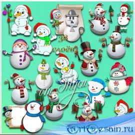 Поздравления от души доставят шустрые снеговики - Клипарт
