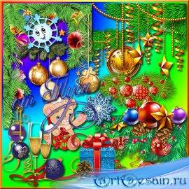 Клипарт - Смелой поступью идет добрый славный Новый год