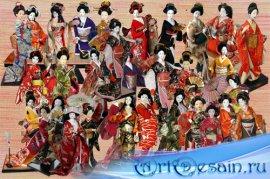 Клипарт Куклы японские гейши и другие