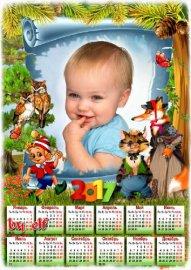 Детский календарь на 2017 год с котом Базилио и лисой Алисой
