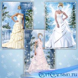 Женские шаблоны для фотошопа – Бальные платья на зимнем фоне