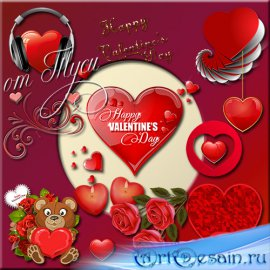 Клипарт - Сердечко шепчет о любви / Clipart - My heart says love