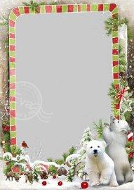 Детская рамочка для фото - Белые мишки в зимнем лесу