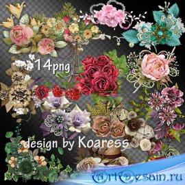 Романтический клипарт png для дизайна - винтажные, цветочные кластеры