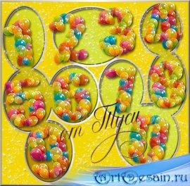 Клипарт - Цифры из воздушных шаров / Clip Art  - The numbers of balloons