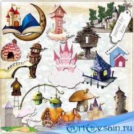 Клипарт - Сказочные домики и замки в png