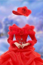 Шаблон для фотошопа женский – Алое платье зимнее