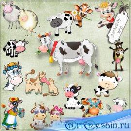 Клипарт - Коровы, коровки и бычки в png