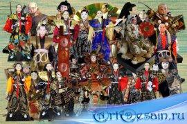 Клипарт Куклы японские самураи и другие воины
