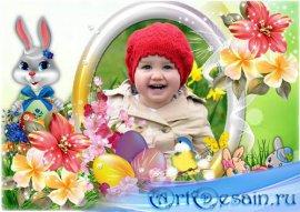 Детская пасхальная рамка для фото - Праздничное утро