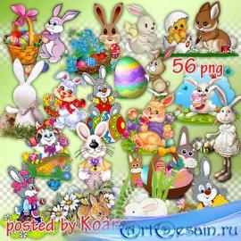 Растровый клипарт на прозрачном фоне - Пасхальные кролики и зайцы