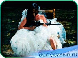 Фртошаблон женский - Раздраженная невеста с автоматом
