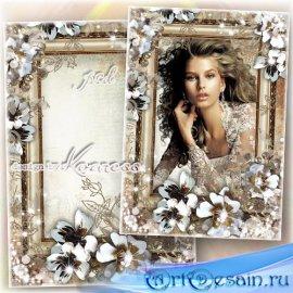 Романтическая винтажная женская рамка для фотошопа - Очаровательный портрет