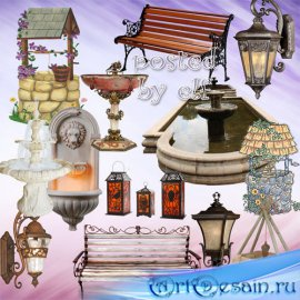 Клипарт в png - Колодцы, скамейки, фонтаны, фонари