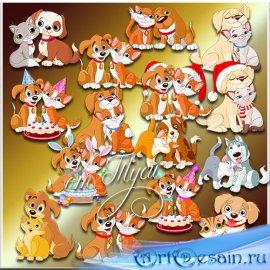 Кот и пёс - Клипарт