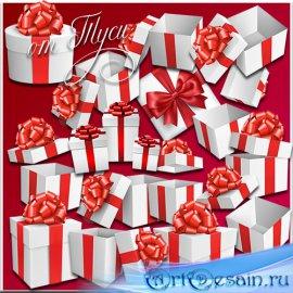 Белые подарочные коробки с красным бантом - Клипарт