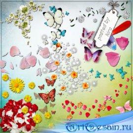 Клипарт - Россыпи цветов, лепестков и бабочек