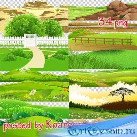 Png клипарт для дизайна - Нарисованные элементы пейзажа (часть 1)