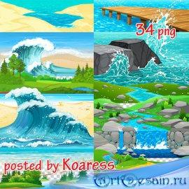 Png клипарт для дизайна - Пляжи, реки, озера, море и другие элементы пейзаж ...