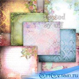 Набор винтажных фонов для фотошопа с цветами и цветочными орнаментами