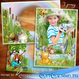 Детские рамки для фото в png - Рыбаки