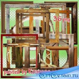 Png клипарт без фона - подборка рамок из дерева